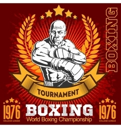 Vintage boxing emblem label badge logo and vector