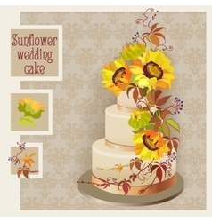 Wedding cake design with sunflower and wild vector