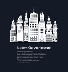 White silhouette modern big city and text vector