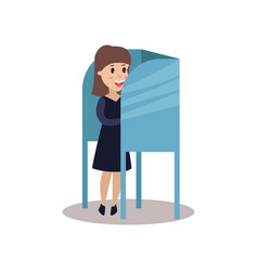 woman character standing in voting booth casting vector image
