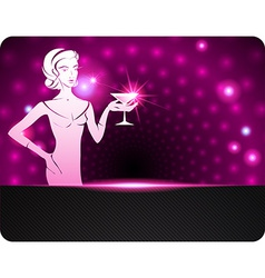 Woman holding a cocktail A sparkling background vector image