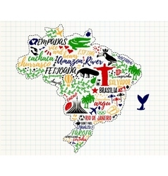 Brazil Travel Map vector image