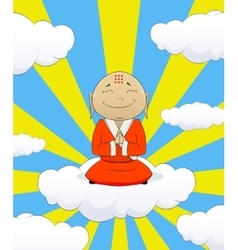 On cartoon asian monk vector