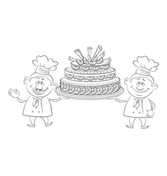 Cooks with holiday cake outline vector