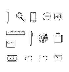Analytics icons  sketch line outline style vector