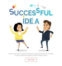 Successful idea web banner in flat design vector