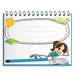 A notebook with a drawing of a girl reading vector image