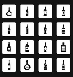 bottle forms icons set squares vector image
