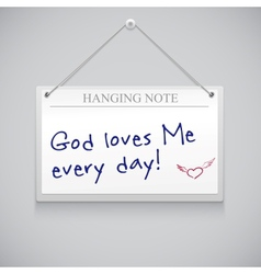 Hanging note board vector