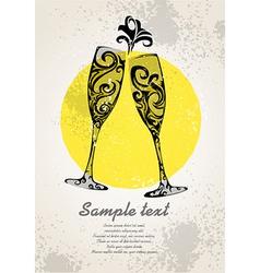 Champagne invitation vector