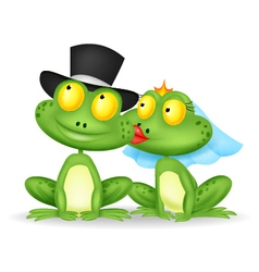 Married frog cartoon kissing vector image