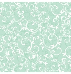Sea green swirly braches seamless pattern vector