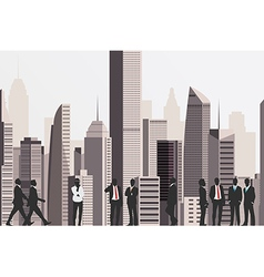 Silhouettes of business people with skyscraper vector