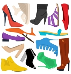 Set of women shoes in flat style vector