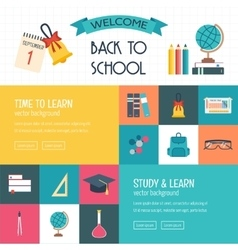 Three horizontal banners with school and education vector