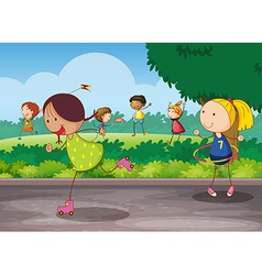 A group of kids vector image