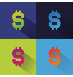 Abstract flat money set isolated on colored vector image vector image