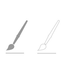 art paint brush grey set icon vector image vector image