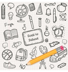 Back to School background with hand drawn doodle vector image vector image