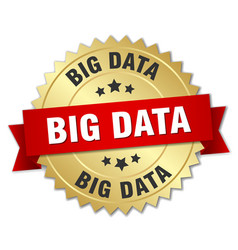 Big data 3d gold badge with red ribbon vector