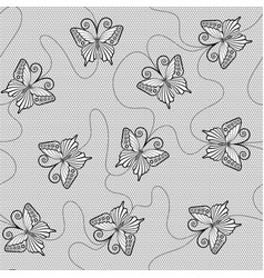 Black lace seamless pattern with butterflies vector
