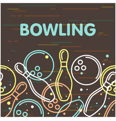 Bowling poster with outline of skittles vector