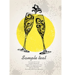 Champagne invitation vector