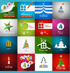 christmas cards set - paper cut xmas greeting vector image