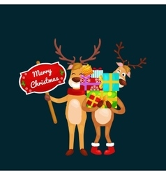christmas set of deer with banner isolated happy vector image vector image