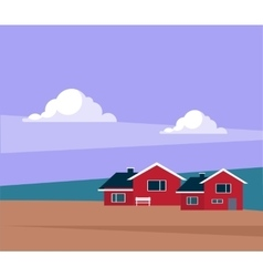 Classic icelandic landscape with houses vector