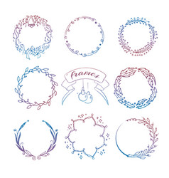 colorful hand drawn christmas wreath frames set vector image vector image