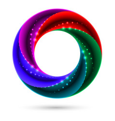 Colorful spiral ring on white background for vector