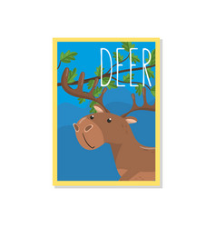 cute deer with woodland animal vector image vector image