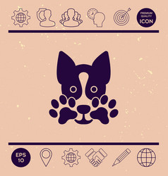 cute dog paw - logo symbol protect sign vector image