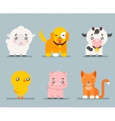 Cute farm animals cartoon flat design icons set vector image vector image