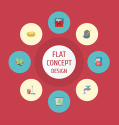 flat icons sponge carpet vacuuming faucet and vector image vector image