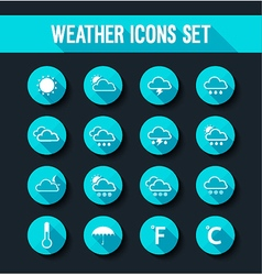 Flat weather icons set vector image vector image