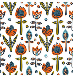 Floral seamless pattern as scandinavian textile vector