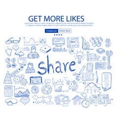 get more likes social media concept with business vector image