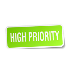 High priority square sticker on white vector