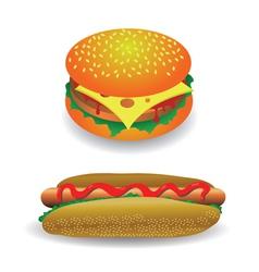 hot dog and hamburger vector image vector image