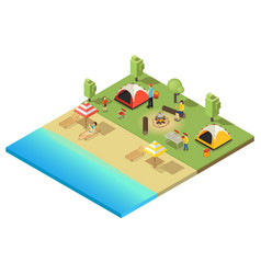 Isometric camping and hiking template vector