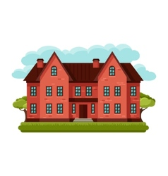 old brick cottage on clouds vector image