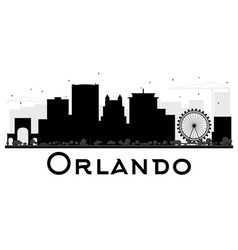Orlando City skyline black and white silhouette vector image