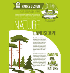 Poster of green nature landscaping company vector