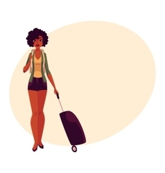 Pretty African American girl woman traveler with vector image vector image
