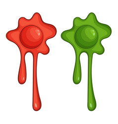 red and green slime spot icon cartoon style vector image