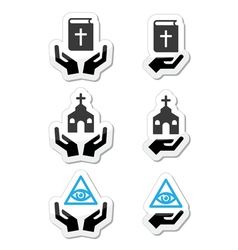 Religion icons - hands with bible church vector