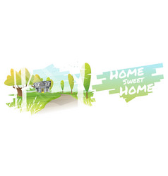 Rural landscape and a small house background vector
