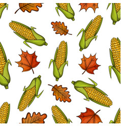 Seamless pattern with corn and leaves vector